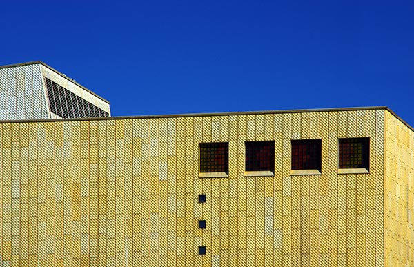 Image of The façade of the New State Library in Berlin